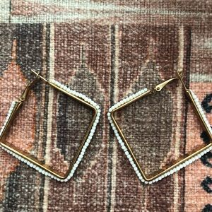 Anthropologie beaded square hoops